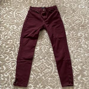 American Apparel Maroon Zippered Stretch Jean
